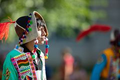 The Fiesta DC Parade. Washington, D.C., USA - September 29, 2018: The Fiesta DC Parade, young man from bolivia wearing traditional clothing walking down the stock photos