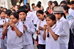 Fiesta de aniversario para la unidad educativa en Otavalo, Ecuador Fotografía de archivo libre de regalías