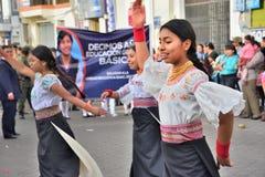 Fiesta de aniversario para la unidad educativa en Otavalo, Ecuador Fotos de archivo libres de regalías
