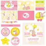Fiesta de bienvenida al bebé Bunny Theme Imágenes de archivo libres de regalías