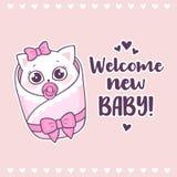 Fiesta de bienvenida al bebé colorida con bebé agradable lindo del gato y de la inscripción de la muchacha el nuevo Imagen de archivo