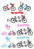 Fiesta de bienvenida al bebé con la bicicleta en tándem, sistema del vector Foto de archivo