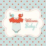 Fiesta de bienvenida al bebé del vintage, ejemplo ilustración del vector