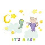 Fiesta de bienvenida al bebé o tarjeta de llegada - bebé Cat Catching Stars Foto de archivo