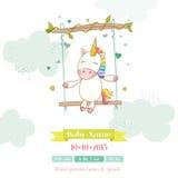 Fiesta de bienvenida al bebé o tarjeta de llegada - bebé Unicorn Girl ilustración del vector