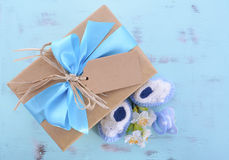 Fiesta de bienvenida al bebé su un regalo natural del abrigo del muchacho Fotos de archivo