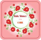 Fiesta de bienvenida al bebé - su una muchacha, flores rojas Fotos de archivo libres de regalías