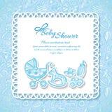 Fiesta de bienvenida al bebé, tarjeta de felicitación para el bebé Foto de archivo libre de regalías