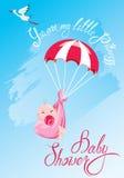 Fiesta de bienvenida al bebé, tarjeta, invitación, etc Cigüeña, paracaídas con la muchacha, Imágenes de archivo libres de regalías