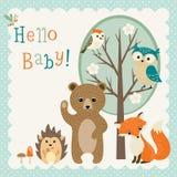 Fiesta de bienvenida al bebé linda de los amigos del arbolado Fotos de archivo