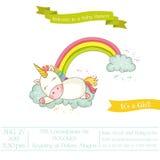 Fiesta de bienvenida al bebé o tarjeta de llegada - bebé Unicorn Girl Fotografía de archivo libre de regalías