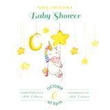 Fiesta de bienvenida al bebé o tarjeta de llegada - bebé Unicorn Girl Fotografía de archivo