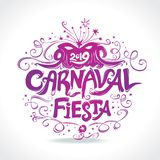 Fiesta de Carnaval logotipo en español Título hermoso del vintage del carnaval ilustración del vector