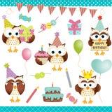 Fiesta de cumpleaños de los búhos de Digitaces Imagen de archivo libre de regalías