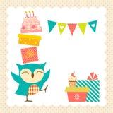 Fiesta de cumpleaños del búho Imagen de archivo libre de regalías