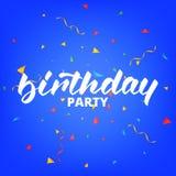Fiesta de cumpleaños Diseño de letras del cumpleaños para las tarjetas o la invitación de felicitación Caligrafía del cumpleaños  Fotos de archivo