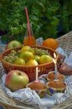 Fiesta de cumpleaños en el jardín - molletes, frutas y jugo Fotos de archivo libres de regalías