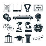 Fiesta de graduación de los estudiantes en estilo monocromático Iconos negros del vector fijados ilustración del vector