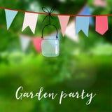 Fiesta de jardín del cumpleaños o tarjeta del partido de junio del brasileño Decoración con las banderas y el tarro Ejemplo del v Imagen de archivo libre de regalías