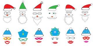 Fiesta de Navidad fijada - vidrios, sombreros, labios, ojos, diademas, bigotes, máscaras - para el diseño, cabina de la foto en v Imagenes de archivo