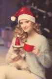 Fiesta de Navidad, mujer de las vacaciones de invierno con el gato Muchacha del Año Nuevo Fotos de archivo libres de regalías