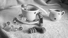 Fiesta del té blanco y negro Imagenes de archivo