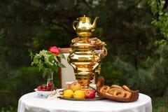 Fiesta del té de la primavera en el jardín, en una tabla cubierta con un blanco Foto de archivo