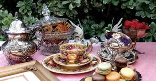 Fiesta del té del estilo del vintage imagenes de archivo