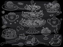 Fiesta del té del garabato de la pizarra del vector Sistema de la fiesta del té del garabato libre illustration