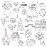 Fiesta del té, elementos dibujados mano para el diseño libre illustration