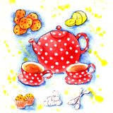 Fiesta del té hecha en casa de la caldera roja de la acuarela Fotos de archivo libres de regalías