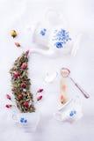 Fiesta del té mágica con infusión de hierbas de las rosas fotografía de archivo libre de regalías