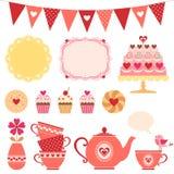 Fiesta del té de la tarjeta del día de San Valentín Fotos de archivo