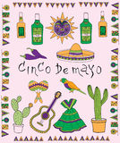 Fiesta elements. Poster for fiesta time with colorful hand drawn attributes of mexican holiday. Cinco de Mayo banner royalty free illustration