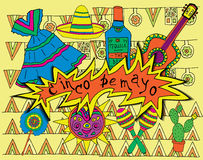 Fiesta elements. Poster for fiesta time with colorful hand drawn attributes of mexican holiday. Cinco de Mayo banner vector illustration