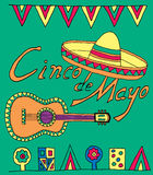 Fiesta elements. Poster for fiesta time with colorful hand drawn attributes of mexican holiday. Cinco de Mayo banner stock illustration