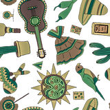 Fiesta elements. Seamless pattern with hand drawn mexican elements. Perfect background for your design. Travel to Mexico texture Royalty Free Stock Image