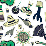 Fiesta elements. Seamless pattern with hand drawn mexican elements. Perfect background for your design. Travel to Mexico texture Stock Image