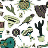 Fiesta elements. Seamless pattern with hand drawn mexican elements. Perfect background for your design. Travel to Mexico texture Stock Photo