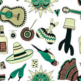 Fiesta elements. Seamless pattern with hand drawn mexican elements. Perfect background for your design. Travel to Mexico texture Royalty Free Stock Images