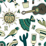 Fiesta elements. Seamless pattern with hand drawn mexican elements. Perfect background for your design. Travel to Mexico texture Stock Photography