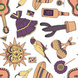 Fiesta elements. Seamless pattern with fiesta elements. holiday background with hand drawn doodles royalty free illustration