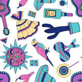 Fiesta elements. Seamless pattern with fiesta elements holiday background with hand drawn doodles stock illustration