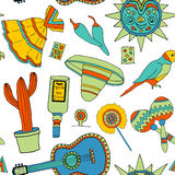 Fiesta elements. Seamless pattern with fiesta elements. Meaxican holiday background with hand drawn doodles royalty free illustration