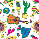 Fiesta elements. Seamless pattern for fiesta time with colorful hand drawn attributes of mexican holiday. Cinco de Mayo background royalty free illustration