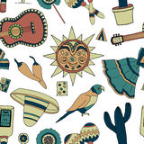 Fiesta elements. Seamless vector pattern with hand drawn mexican elements. Perfect background for your design. Travel to Mexico texture Royalty Free Stock Photos