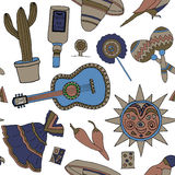 Fiesta elements. Seamless vector pattern with hand drawn mexican elements. Perfect background for your design. Travel to Mexico texture Royalty Free Stock Photography