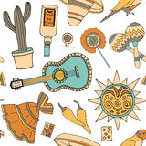 Fiesta elements. Seamless vector pattern with hand drawn mexican elements. Perfect background for your design. Travel to Mexico texture Royalty Free Stock Photo