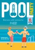 Fiesta en la piscina gay Plantilla para el diseño del cartel Imagen de archivo