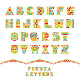 Fiesta Font. Set of ABC letters with abstract ethnic pattern. Rich ornate alphabet in Mexican culture style. Fancy multicolored capital letters, schematic shapes vector illustration
